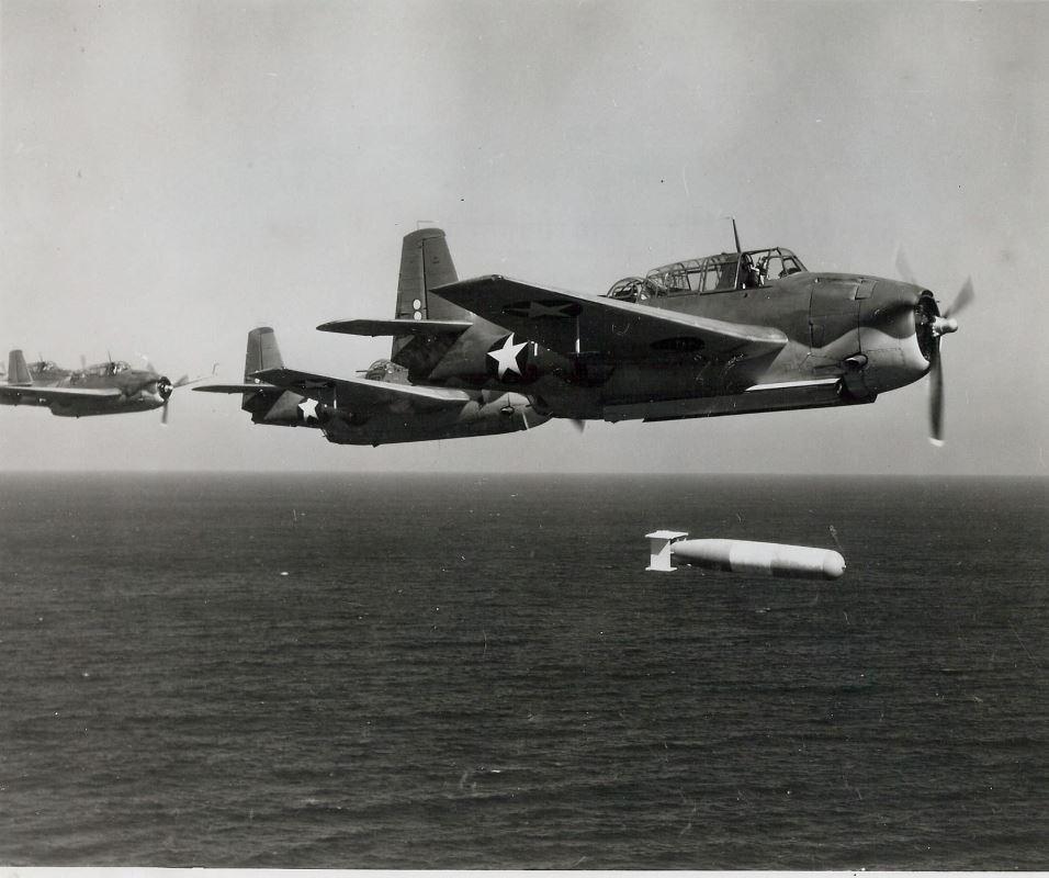 Avengers on a practice torpedo bombing run.