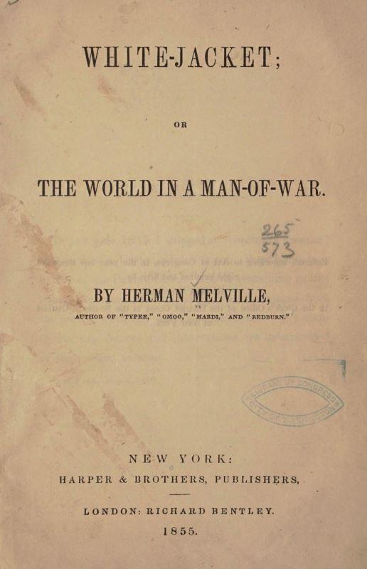 Inside cover of Herman Melville's White-Jacket