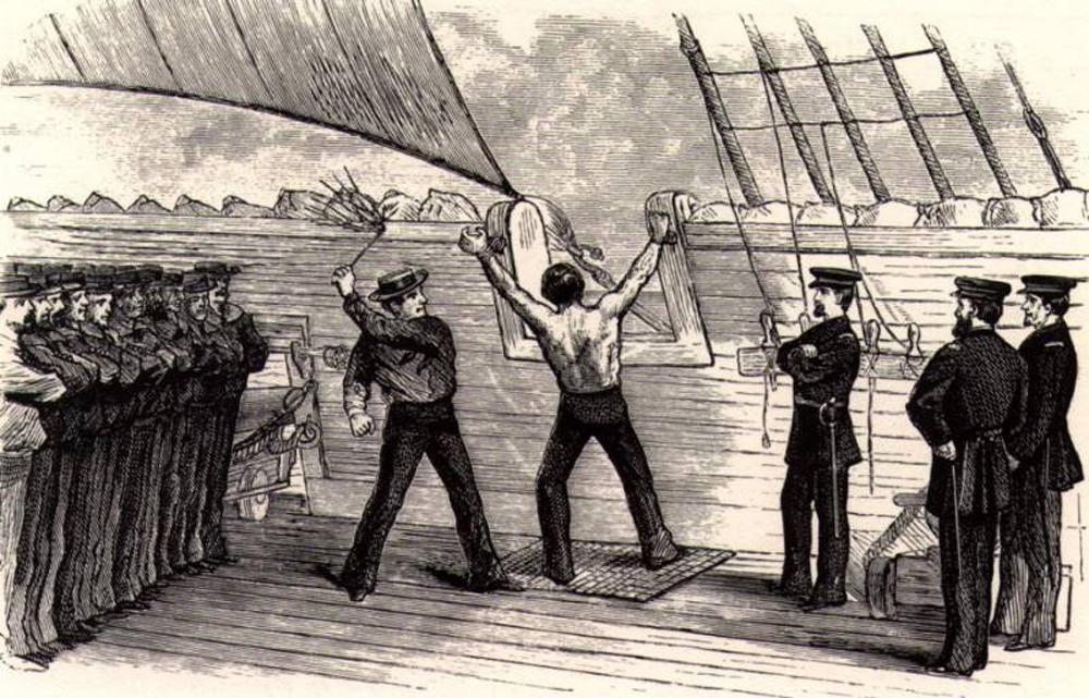 Flogging aboard a naval vessel.