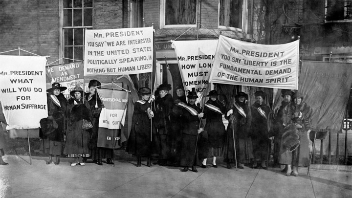 Women's suffrage advocates, sometime in the early 20th century.