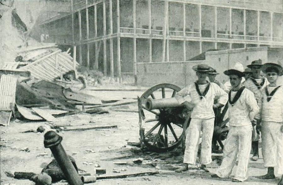 British Marines and sailors after the Anglo-Zanzibar War