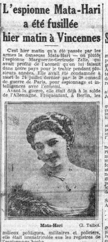 Newspaper article announcing Mata Hari's execution.
