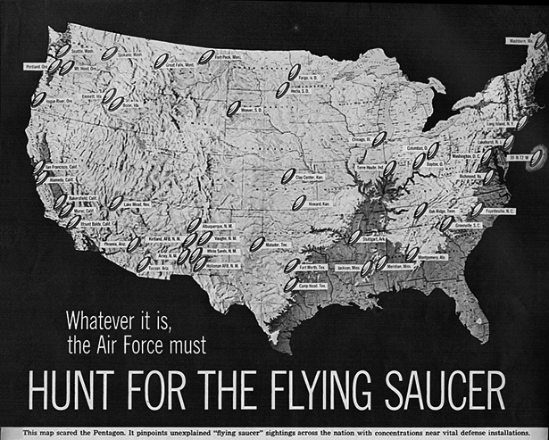Map from a 1950's Life magazine article on UFOs.