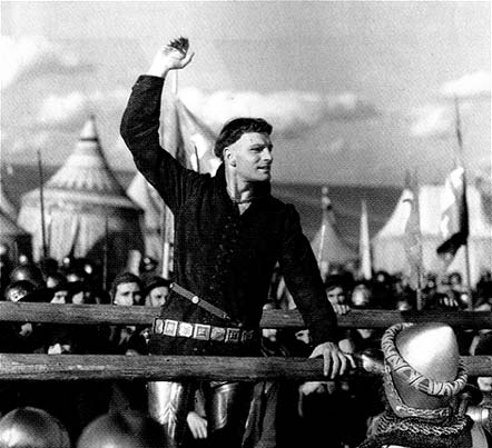 Laurence Olivier as King Henry giving the Saint Crispin's Day Speech in the 1944 film version of the play.