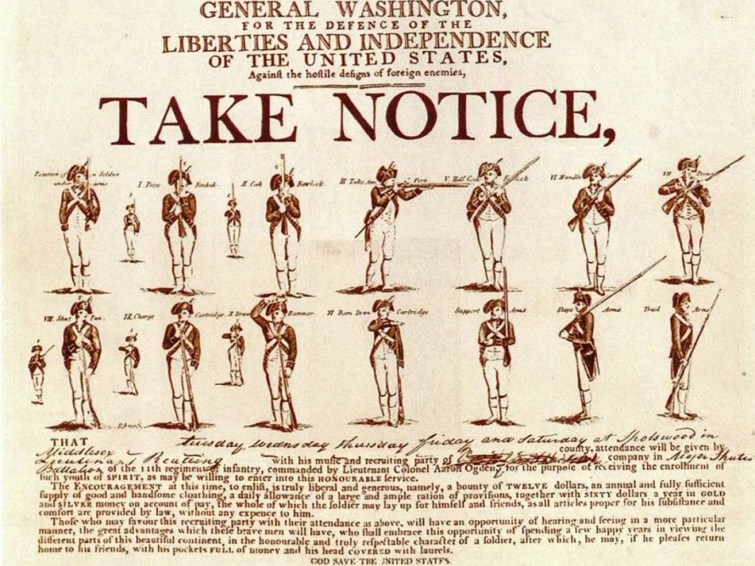 Continental Army recruitment poster.