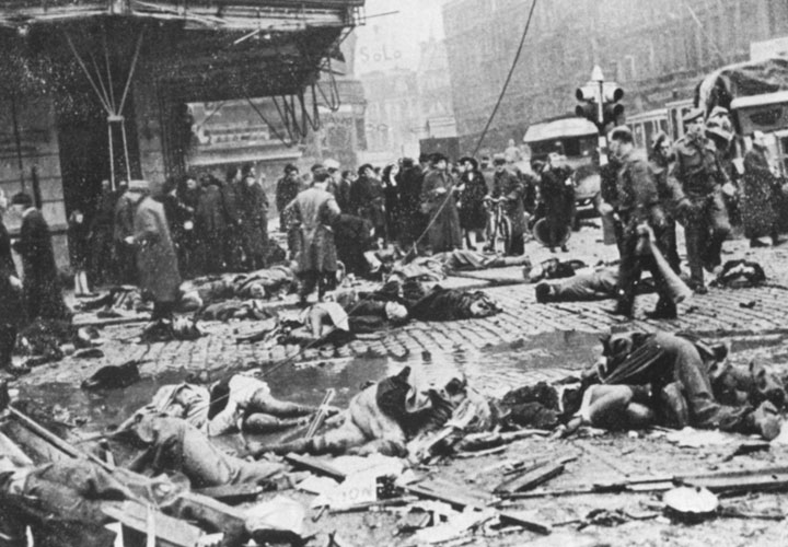 Aftermath of the bombing of the Cine Rex movie theater in Antwerp, Belgium.