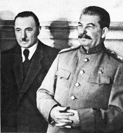 Boleslaw Bierut, first communist president of Poland, with Joseph Stalin.