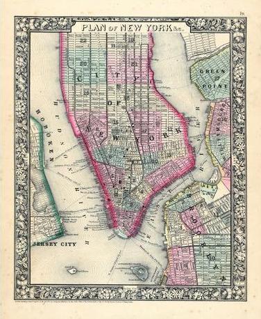 Map of Manhattan, circa 1864.