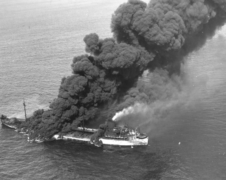 The cargo ship SS Pennsylvania burning after being struck by a torpedo.