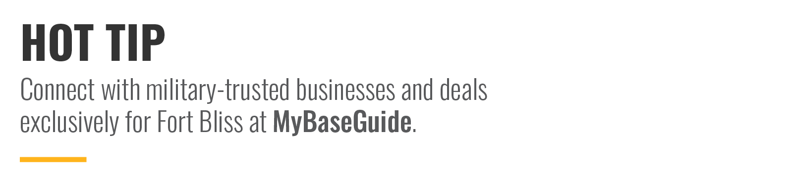 Connect with military-trusted businesses and deals exclusively for Fort Bliss at MyBaseGuide.