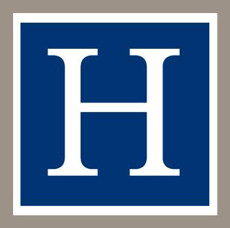 The Hughston H logo color logoPMS 540 and Warm Grey 7