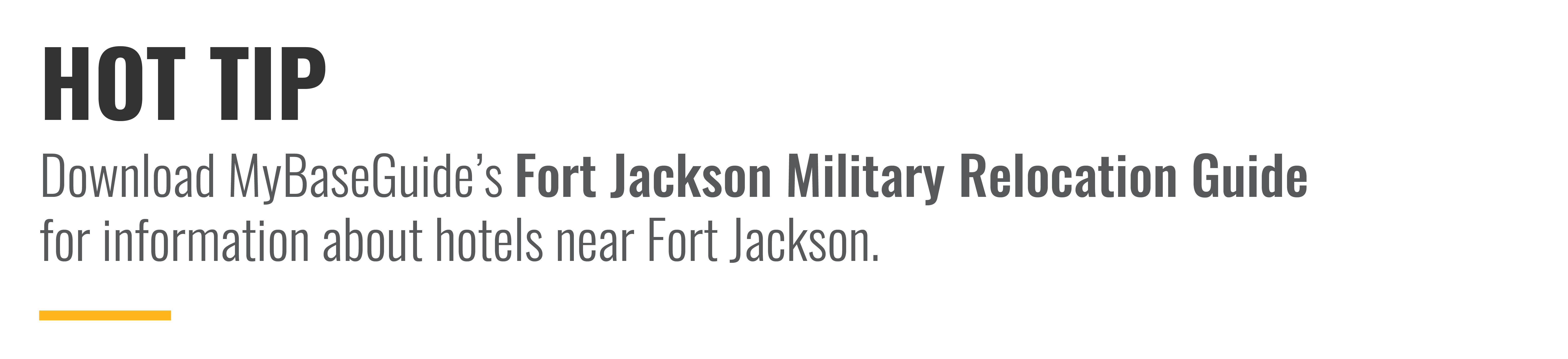 Download MyBaseGuide's Fort Jackson Military Relocation Guide for information about hotels near Fort Jackson.