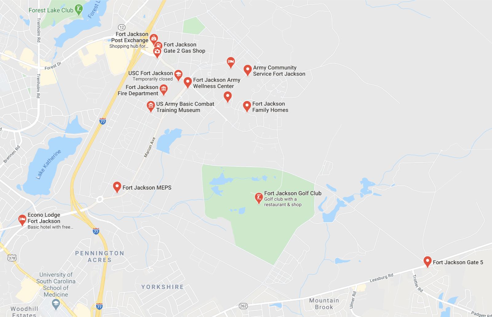 Fort Jackson SC Map