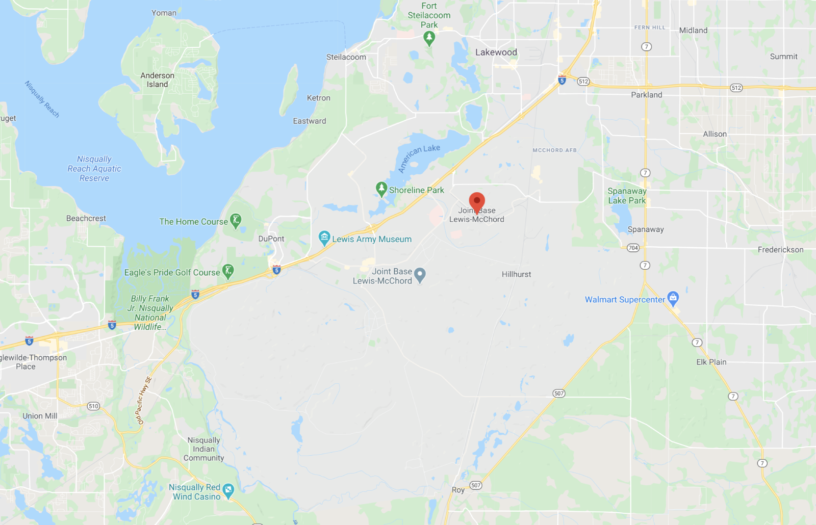 Joint Base Lewis-McChord Map