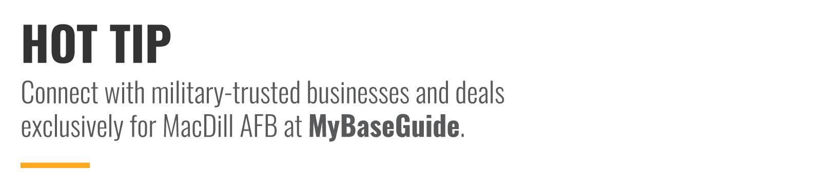 Connect with military-trusted businesses and deals exclusively at MyBaseGuide.com