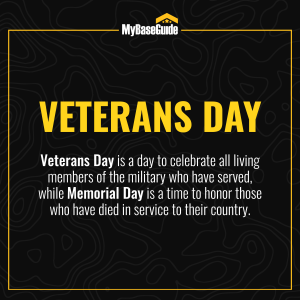 Veterans Day is a day to celebrate all living members of the military who have served, while Memorial Day is a time to honor those who have died in service to their country.