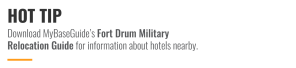 Download MyBaseGuide's Military Relocation Guide for information about hotels nearby.