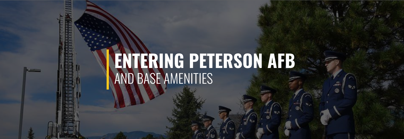 Entering Peterson AFB and Base Amenities
