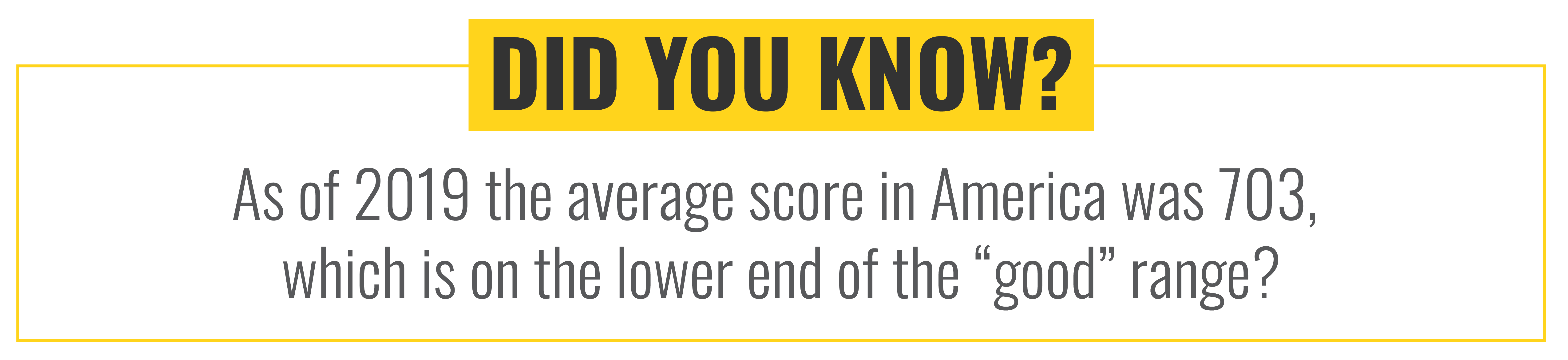 "Did you know as of 2019 the average score in America was 703, which is on the lower end of the ""good"" range?"