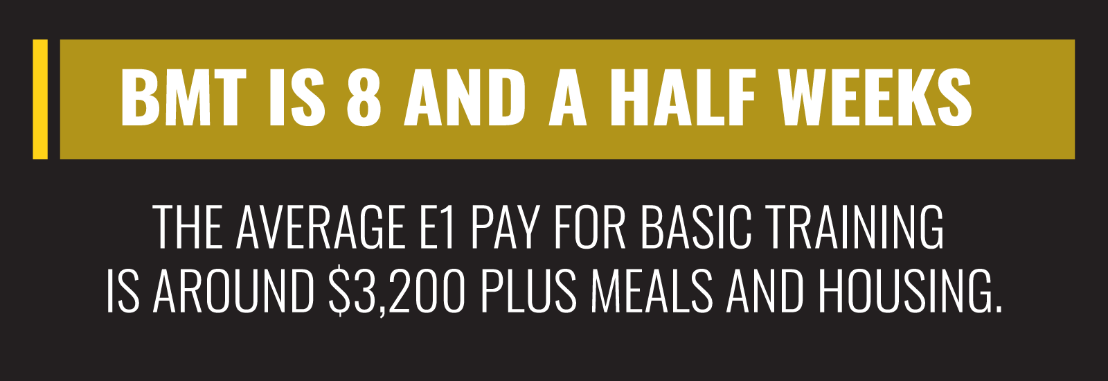 BMT is 8 and a half weeks, so the average E1 payment for basic training is around $3,200 plus meals and housing.