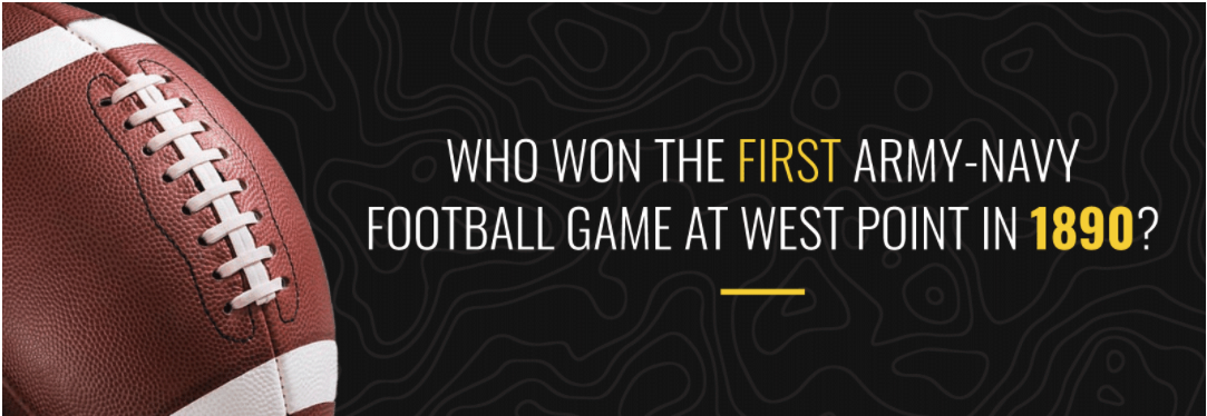 Who won the first Army-Navy football at West Point in 1890?