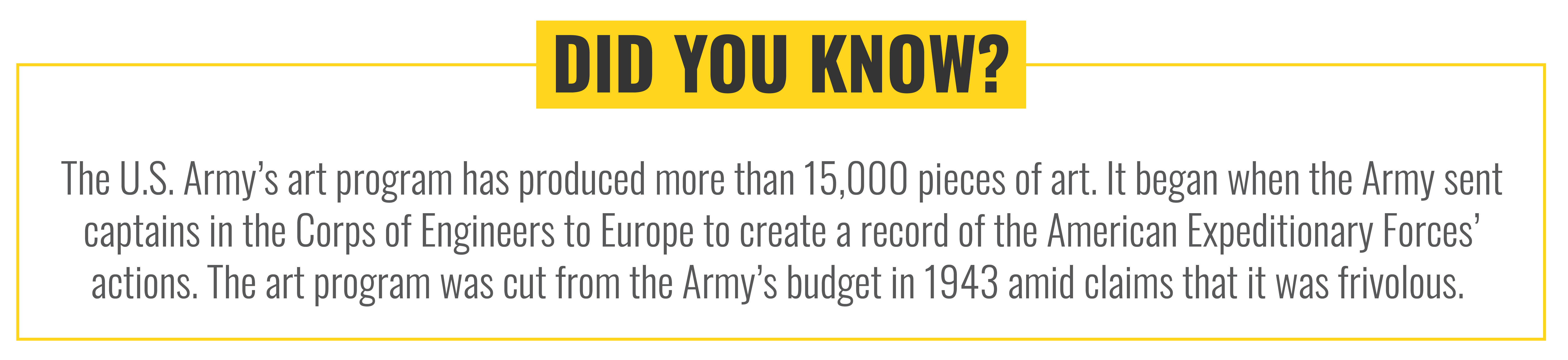 Did you know? The U.S. Army's art program has produced more than 15,000 pieces of art.