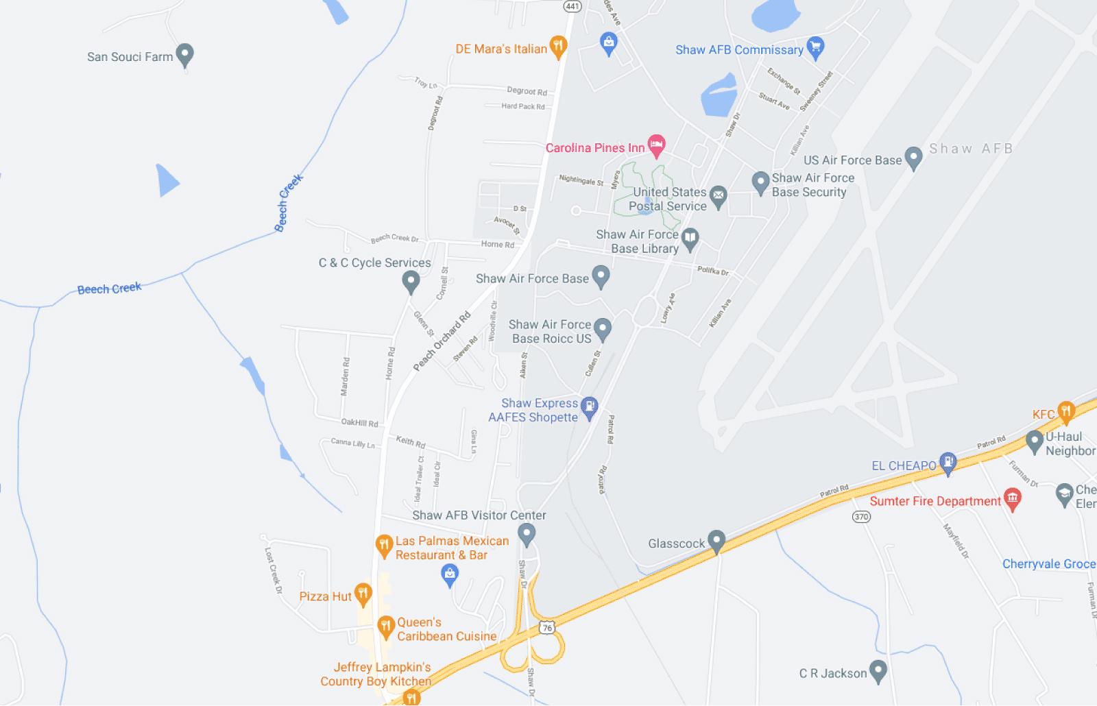 Shaw AFB Map