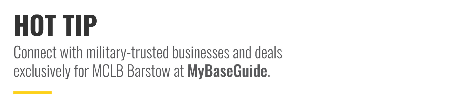 Connect with military-trusted businesses and deals exclusively at MyBaseGuide.com.